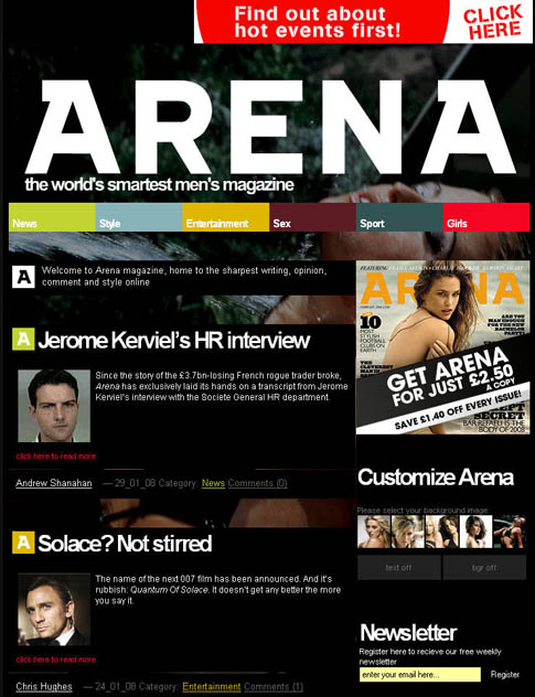 Premium WordPress Website – Arena Magazine