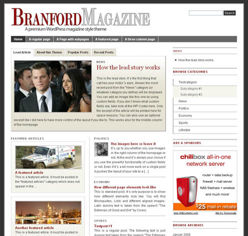 """Branford Magazine"" WordPress Theme"