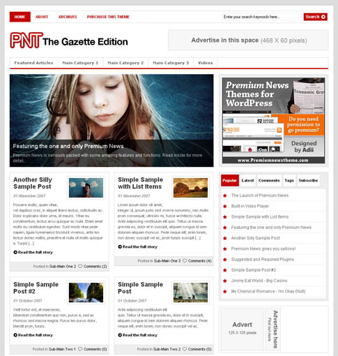 Top 10 Premium WordPress Themes February 2008