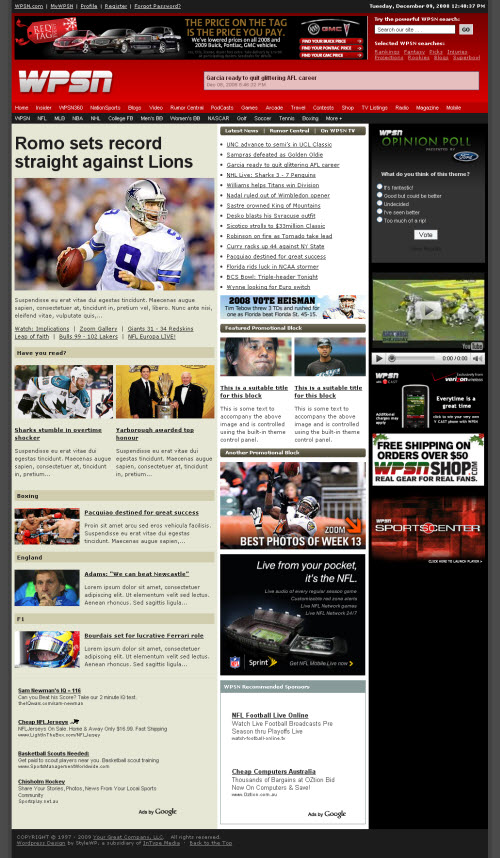 WPSN WordPress Sports Network Premium WordPress Theme
