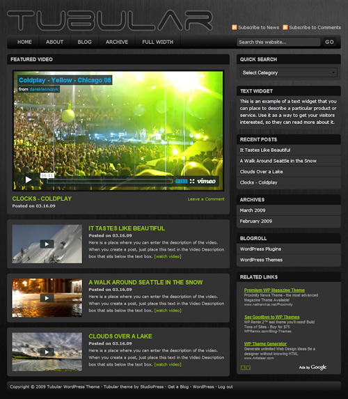 tubular video wordpress theme