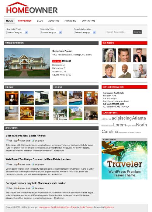 Homeowner Real Estate WordPress Theme