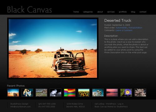 Black Canvas 3.0 Photo WordPress Theme