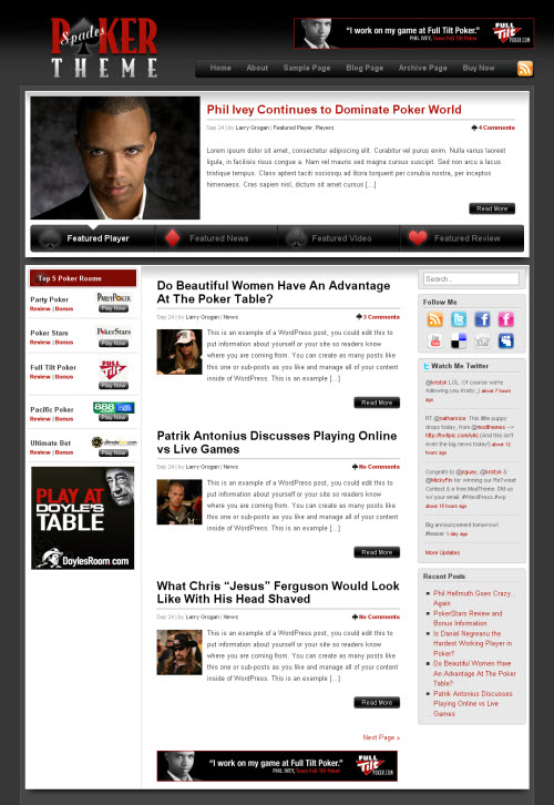Attractive Wordpress Poker Theme Model - Professional Resume ...