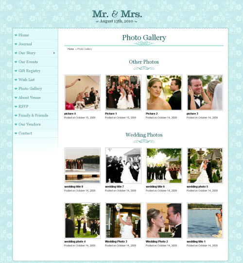 mr and mrs wedding wordpress theme
