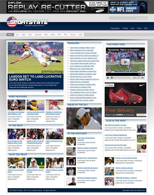 Sportstate CMS Portal WordPress Theme