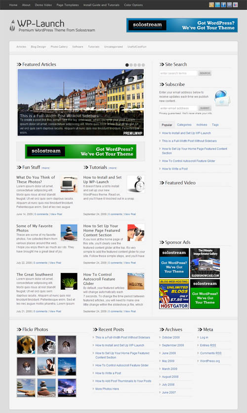 Wp launch premium wordpress theme for Wordpress theme with multiple page templates