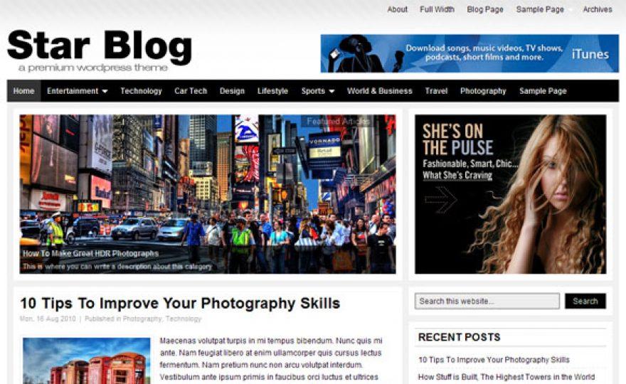 Star Blog: A Free WordPress 3.0+ Theme