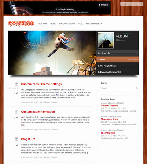 Garage Band Premium WordPress Theme