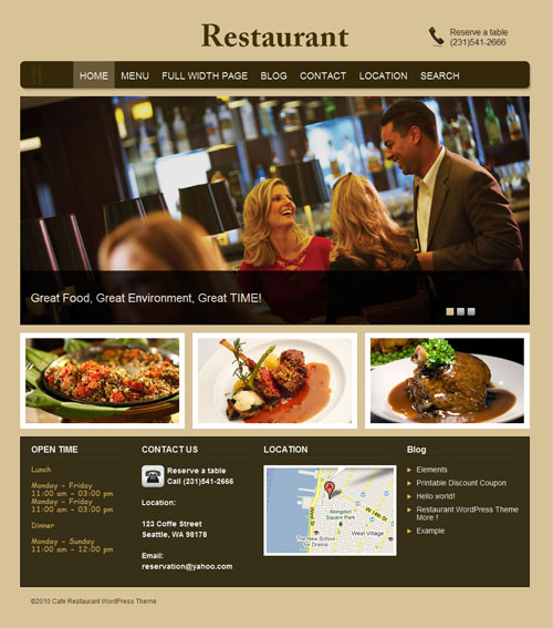 Restaurant WordPress Premium Theme
