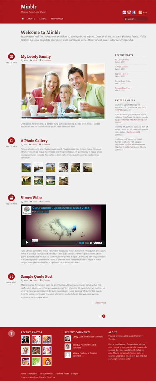 Mimblr Tumblr Style WordPress Theme