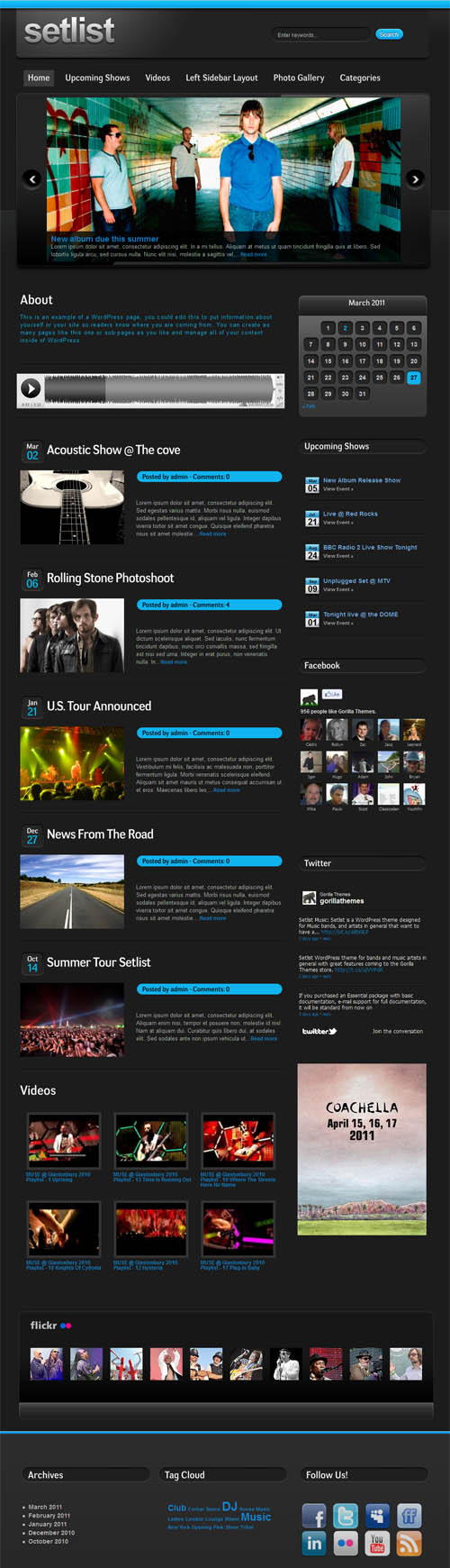 Setlist Music Band WordPress Theme