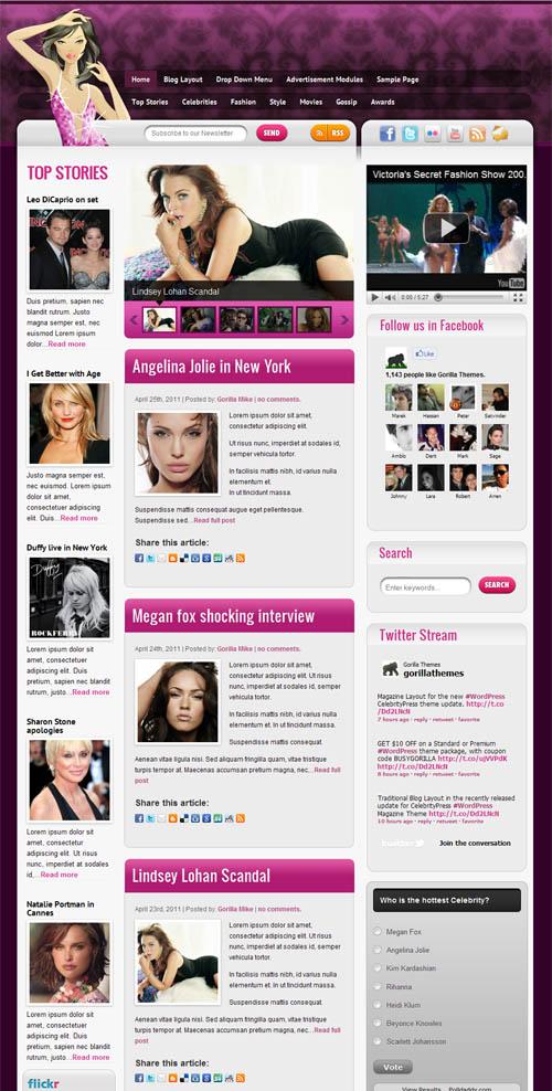 Celebrity Press Magazine WordPress Theme