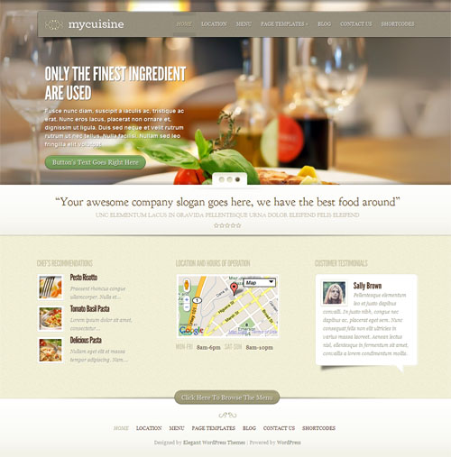 My Cuisine Restaurant WordPress Theme