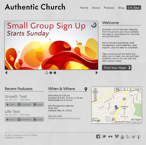 Authentic Church WordPress Theme