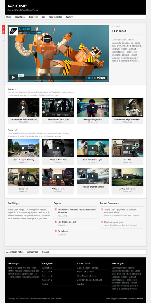 Azione Video Blogging WordPress Theme