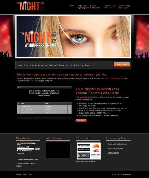 Nightclub WordPress Theme