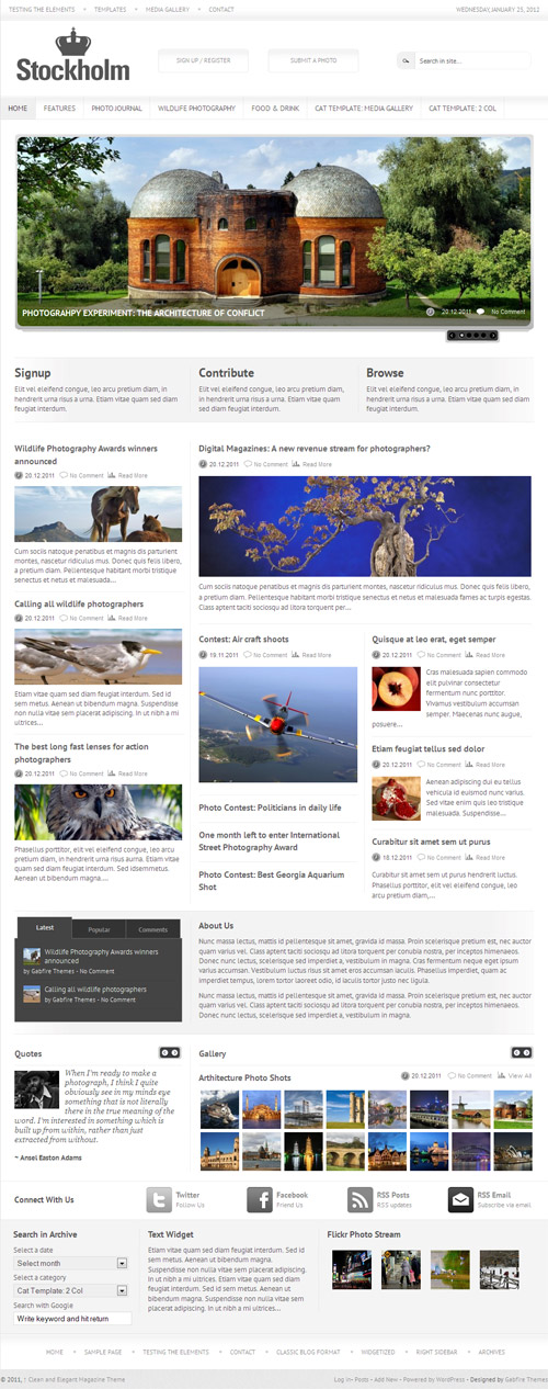 Stockholm Photo Magazine WordPress Theme