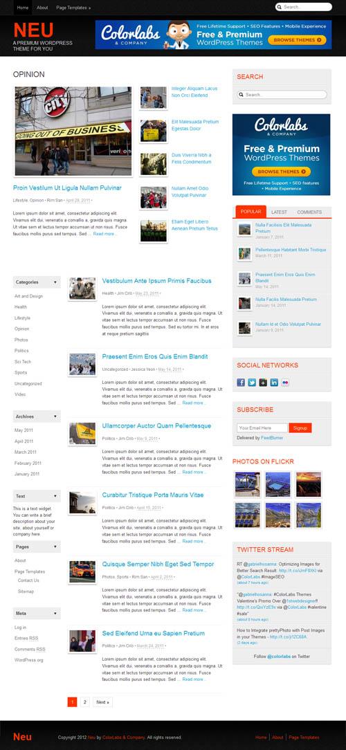 Neu Responsive Magazine WordPress Theme