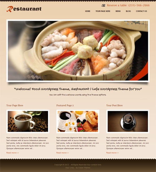 Restaurant WordPress Theme