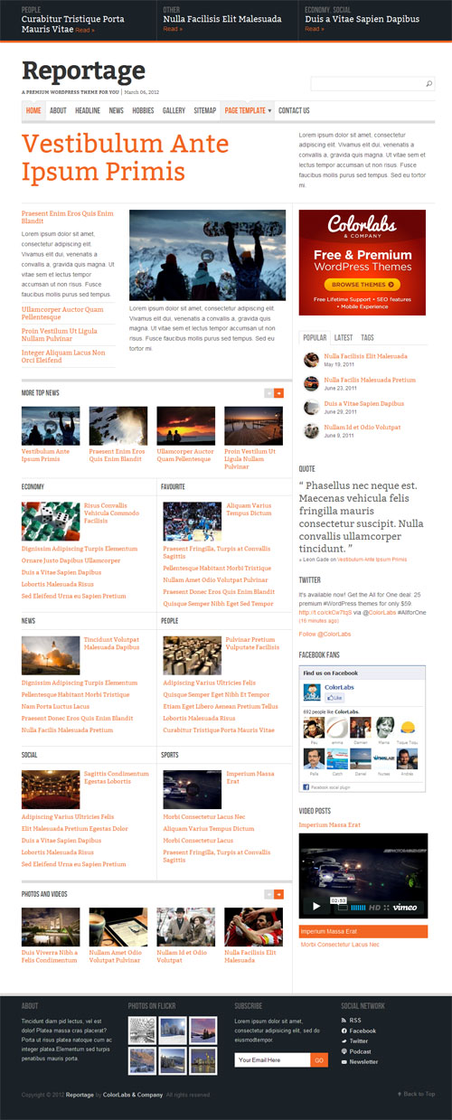 Reportage News Magazine WordPress Theme
