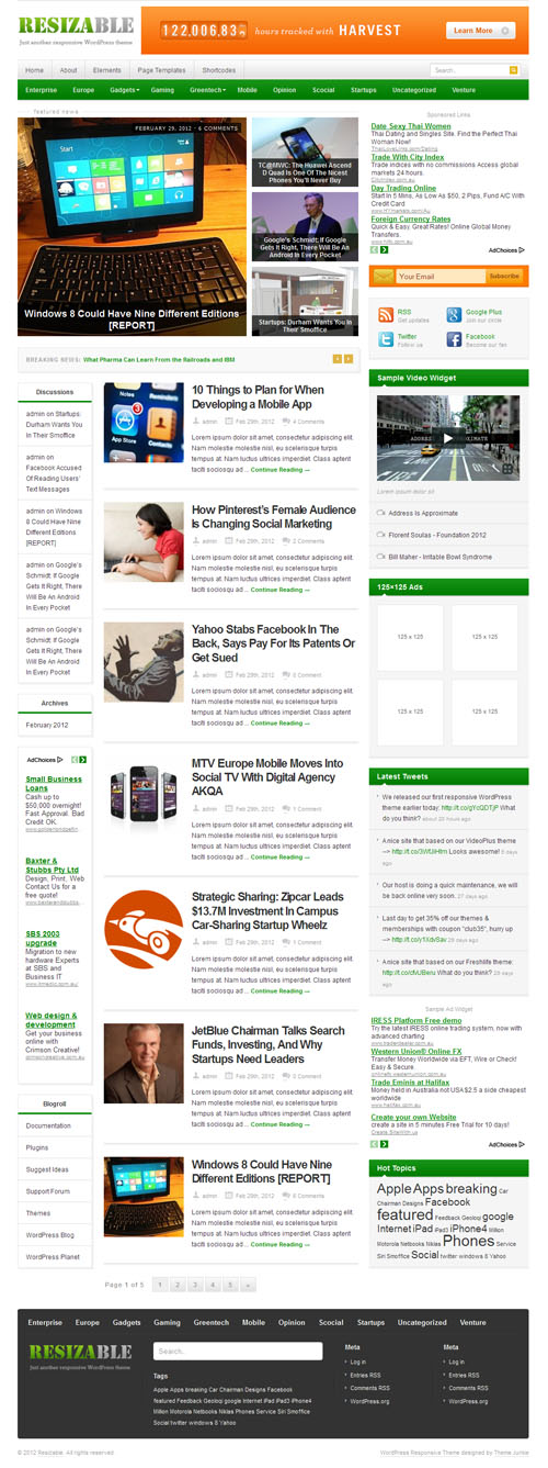 Resizable Responsive WordPress Theme