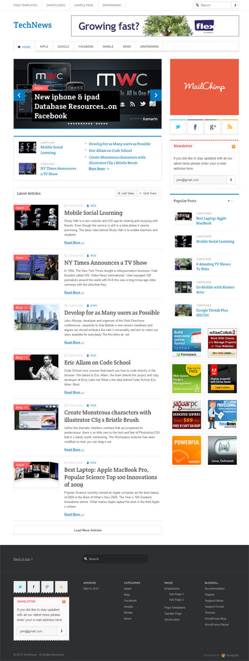 Tech News Responsive WordPress Theme