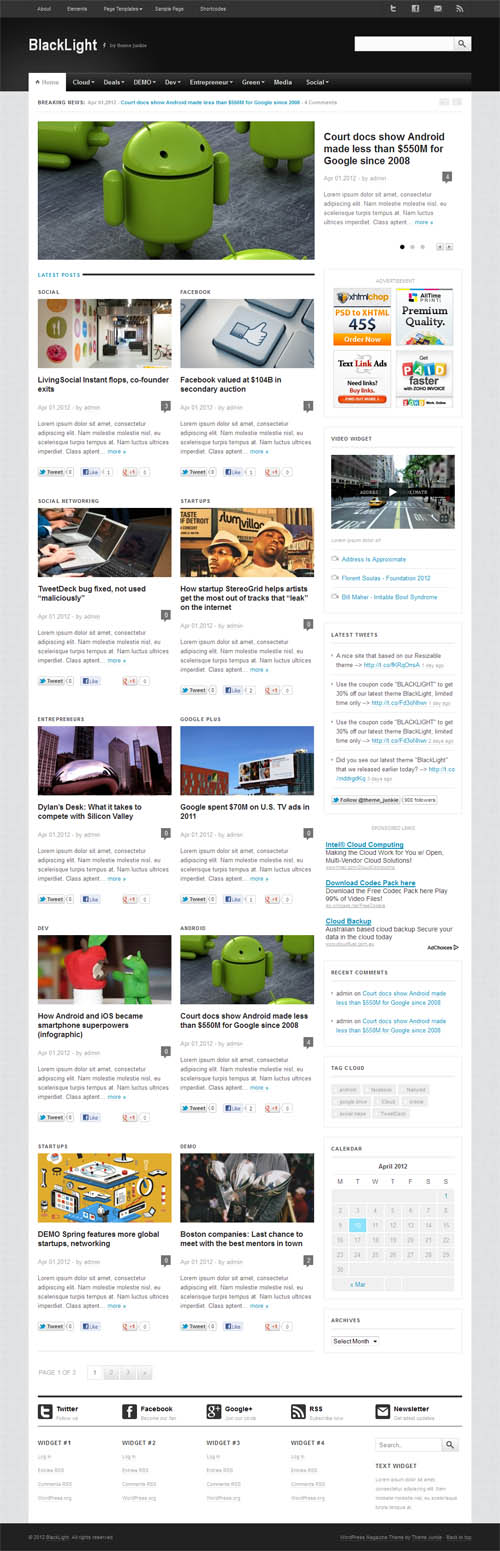 Black Light Magazine WordPress Theme