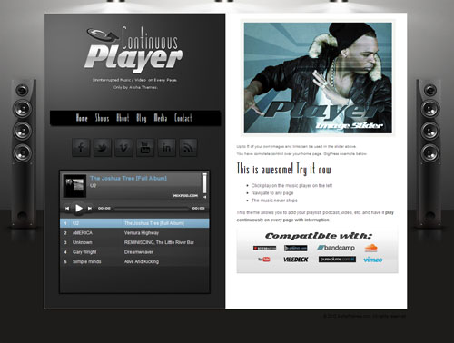 Continuous Player Music and Video WordPress Theme