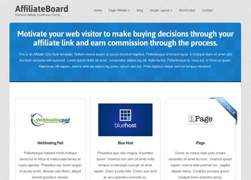 Affiliate WordPress Theme for Affiliates and Internet Marketers