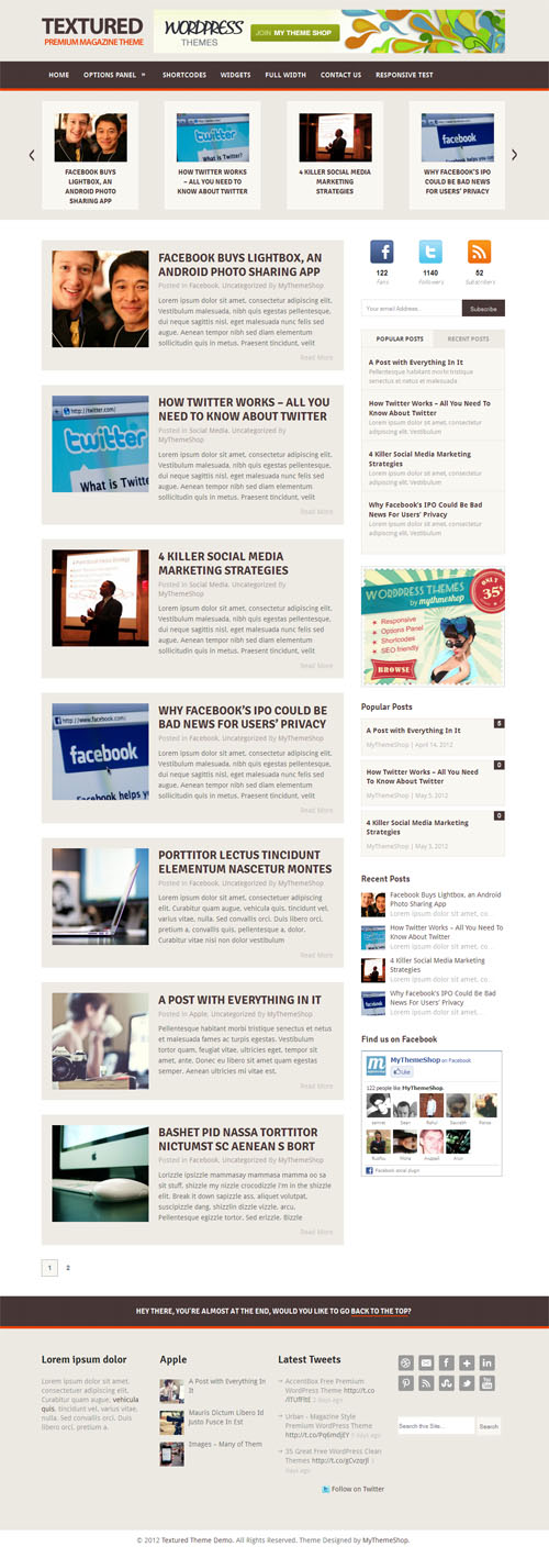 Textured Blog Magazine WordPress Theme