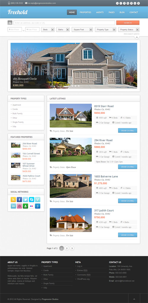 Freehold Real Estate WordPress Theme