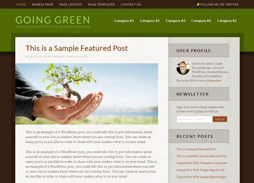 Going Green Responsive WordPress Theme