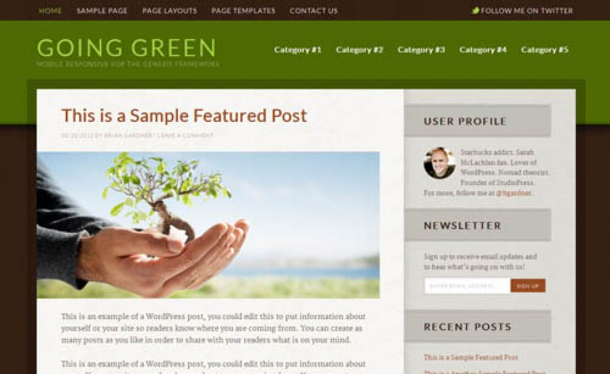 Going Green Responsive WordPress Theme