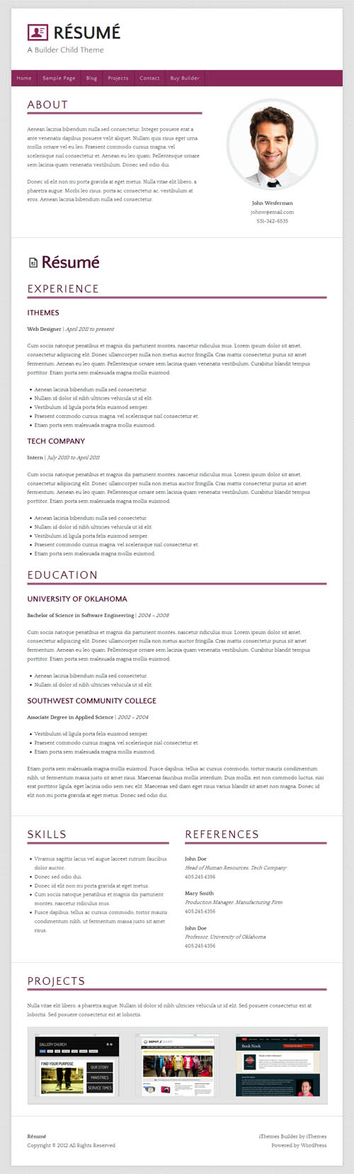 Résumé WordPress Theme
