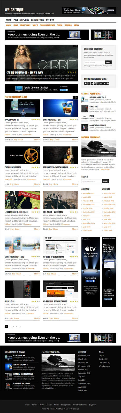 Product review magazine wordpress theme wp critique for Product review template wordpress