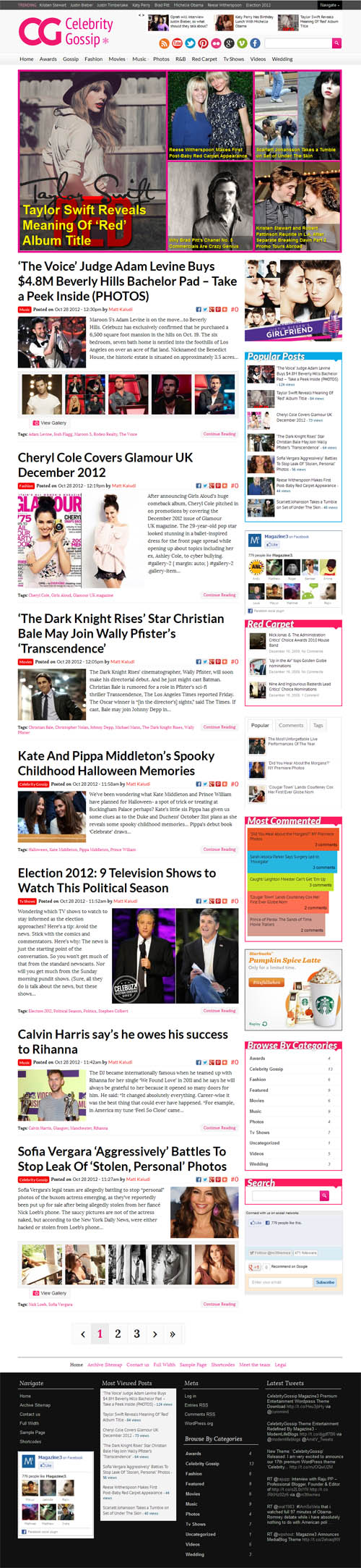 Celebrity Gossip WordPress Theme