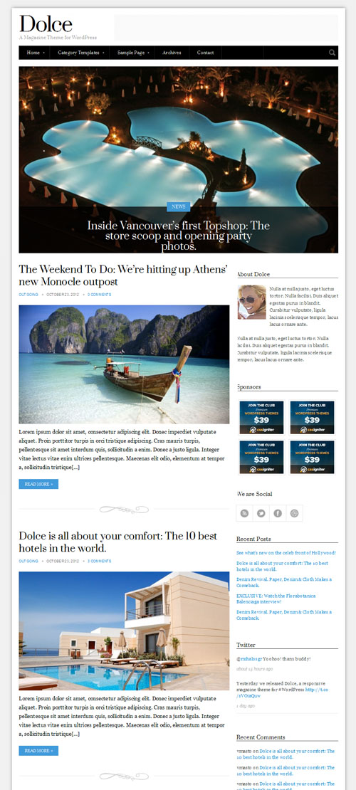 Dolce Blog WordPress Theme
