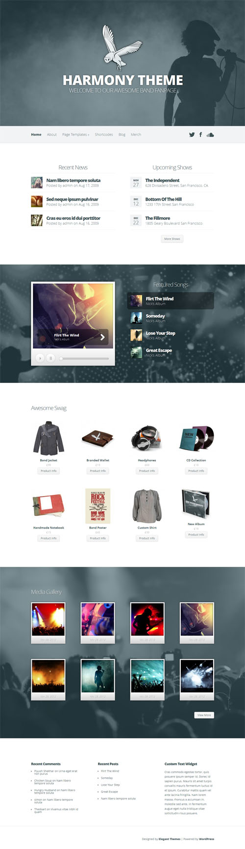 Band and Music WordPress Theme Harmony