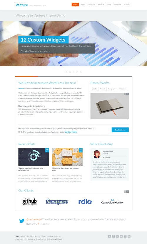 Venture Modern Responsive Business WordPress Theme