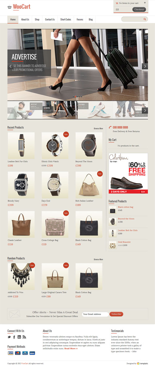 WooCart Responsive Ecommerce WordPress Theme