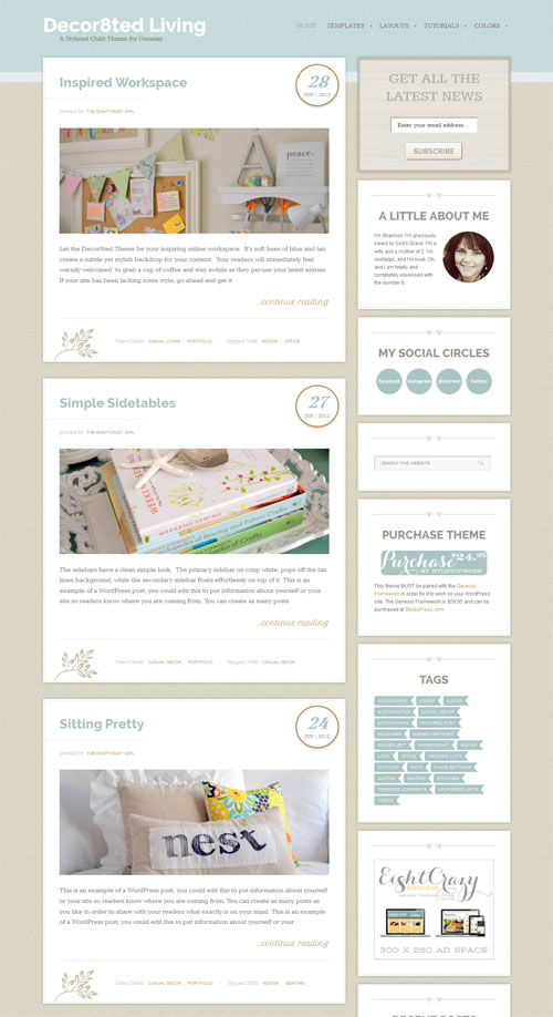 decor8ed Responsive Blogging WordPress Theme