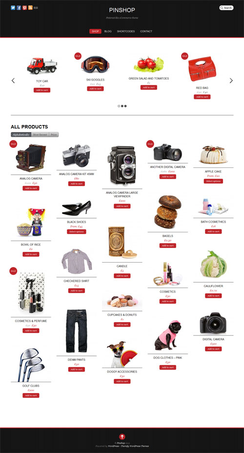 Pinterest Inspired Ecommerce WordPress Theme