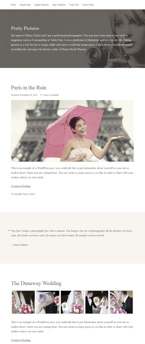 Pretty Pictures Photography WordPress Theme
