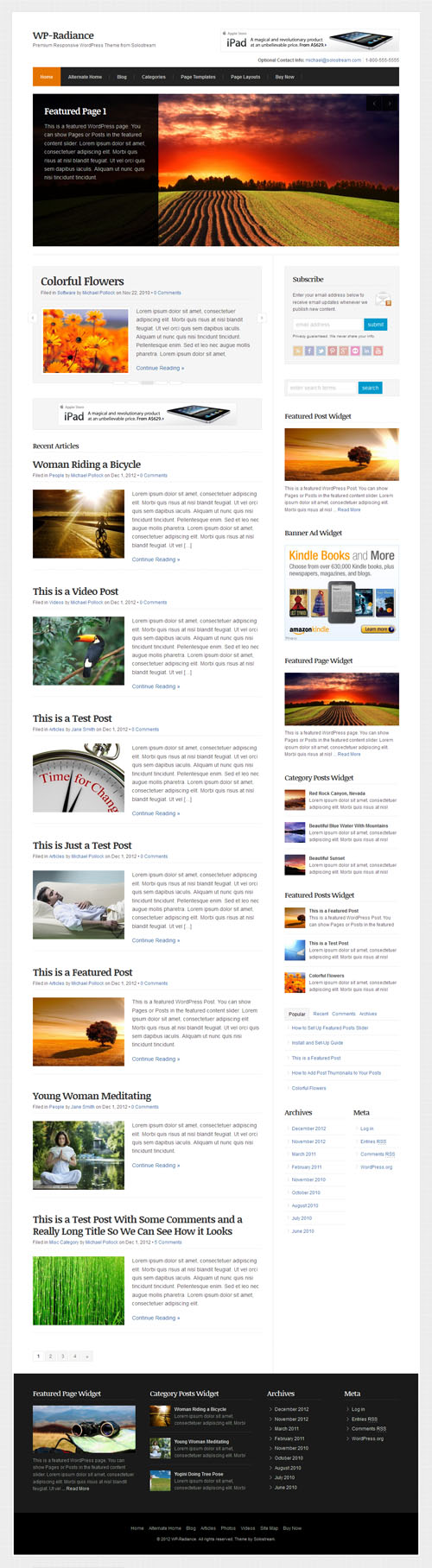 WP Radiance Premium Responsive WordPress Theme