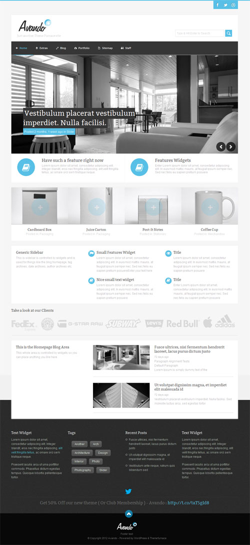 Responsive Corporate WordPress Theme - Avando