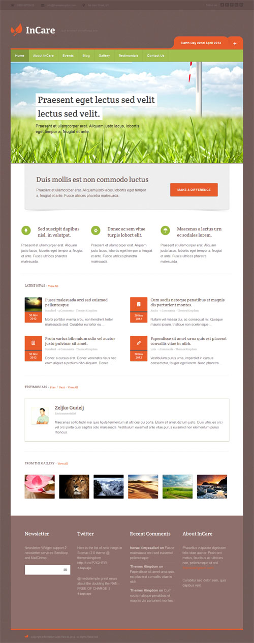 In Care Responsive Non Profit Environmental WordPress Theme