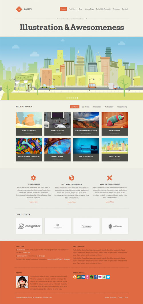 Responsive Business Portfolio WordPress Theme - Mozzy