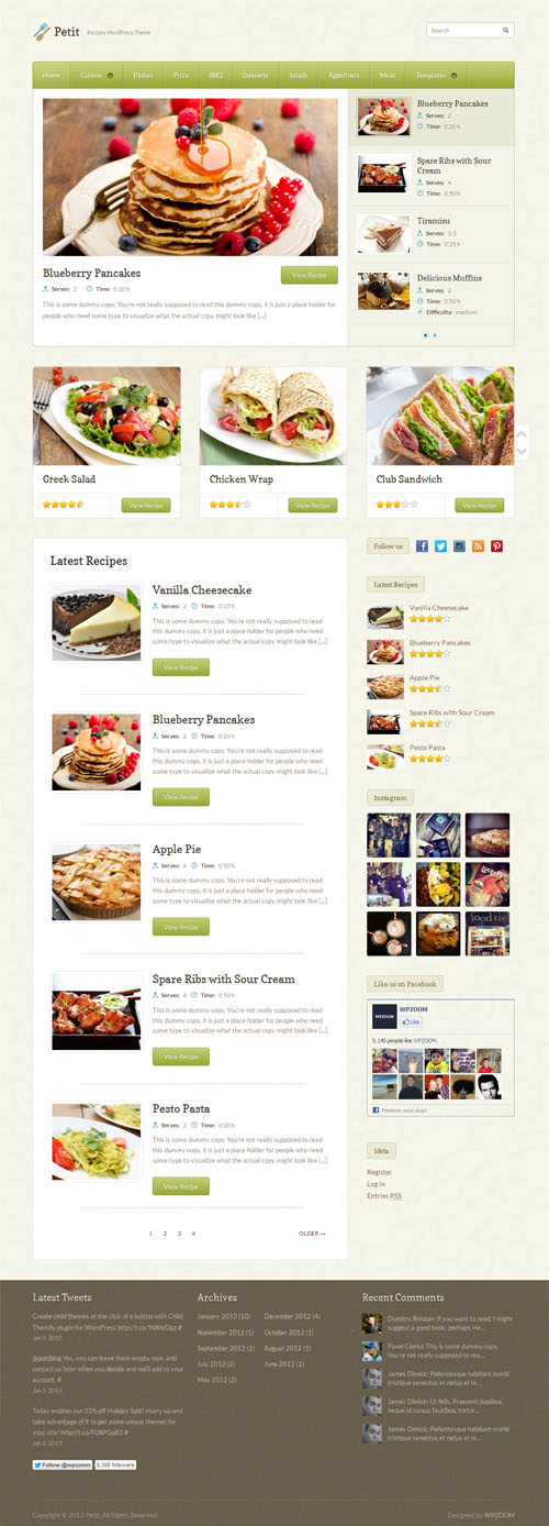 Petit Food Blog and Recipe WordPress Theme