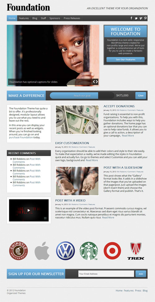 Responsive Non Profit WordPress Theme - Foundation